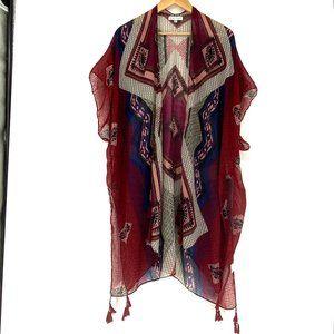 WOVEN HEART Folk Tassel Wrap Kimono - One Size
